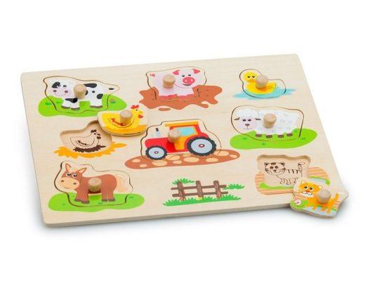 Houten dieren puzzel boerderij