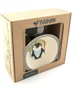 Yuunaa Kids bamboe kinderservies pinguïn verpakking