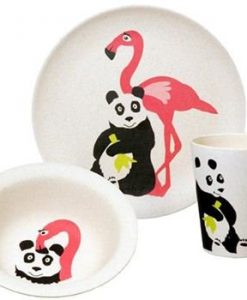bamboe servies flamingo