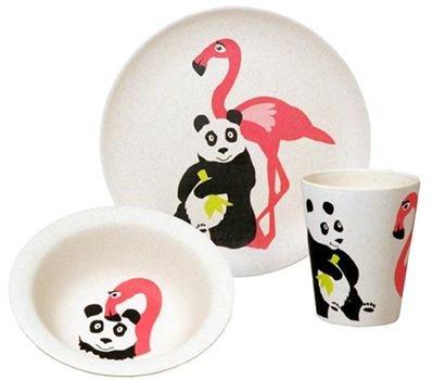 bamboe servies flamingo