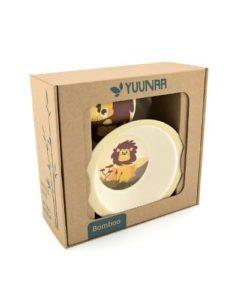 Yuunaa Kids bamboe kinderservies leeuw verpakking