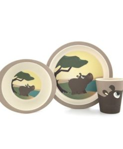 Yuunaa Kids bamboe kinderservies nijlpaard