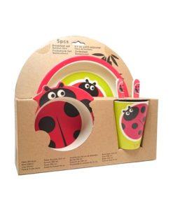 Eco-Import - Bamboe servies lieveheersbeestje verpakking