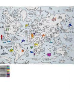 Dekbedovertrek wereldkaart - EatSleepDoodle