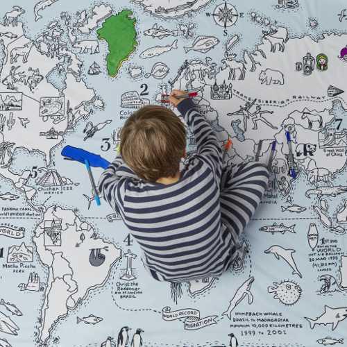 EatSleepDoodle dekbedovertrek wereldkaart