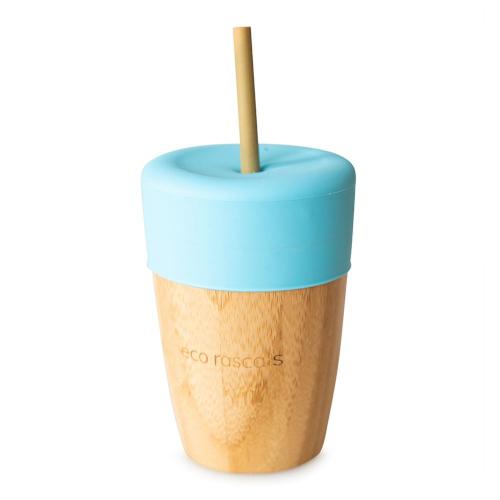 Eco Rascals - Bamboe beker met rietje blauw