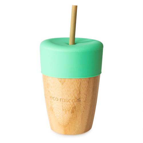 Eco Rascals - Bamboe beker met rietje groen