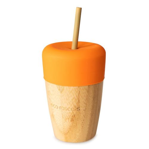 Eco Rascals - Bamboe beker met rietje oranje