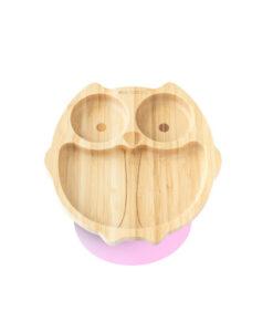 Eco Rascals - Bamboe bord uil roze