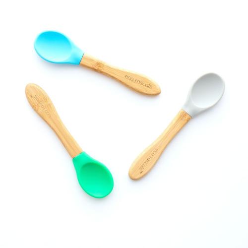 Eco Rascals - Bamboe en siliconen lepels blauw groen en grijs