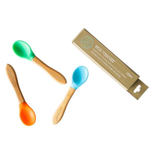 Eco Rascals - Bamboe en siliconen lepels blauw groen en oranje