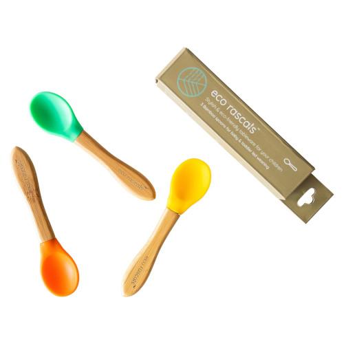 Eco Rascals - Bamboe en siliconen lepels geel groen en oranje