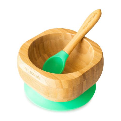 Eco Rascals - Bamboe kom met lepel groen